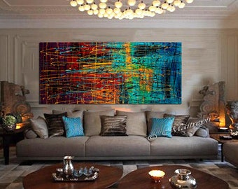 Jackson Pollock style Drip Art Painting extra large Abstract paintings Red blue abstract art Modern Wall Artwork oversize canvas painting