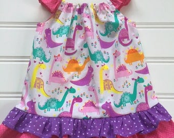 Girl Dinosaur Dress, Toddler Dress, Baby Party Dress, Baby Girl Dress, Girl Summer Dress, Little Girl Dress, Flutter Sleeve Dress
