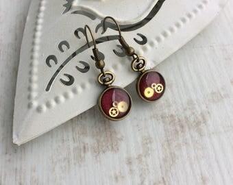Bronze Dangle Earrings. Small Red Drop Earrings. Watch Part Earrings. Bronze Red Earrings. Clock Earrings. Watch Earrings. Pocket Watch