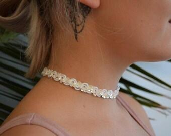Sequin Choker Necklace. Iridescent white