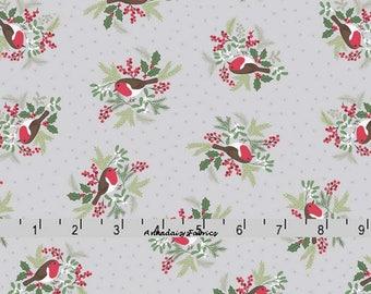 Robin Fabric, Bird Quilt Fabric, Lewis & Irene Fabric, Countryside Winter C19 1, Winter Bird Fabric, Christmas Fabric, Cotton