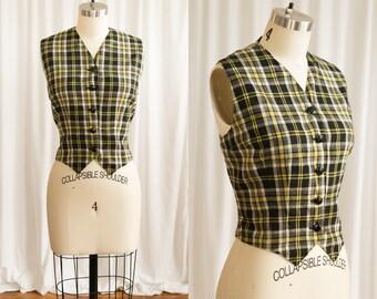 O'Dwyer vest | vintage 70s vest | 1970s yellow plaid vest | vintage 1970s plaid wool vest | yellow / black buttondown vest | plaid wool vest