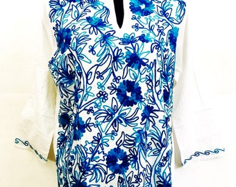 Women 100% Cotton tunic dress Kurti Kurta top floral blue hand embroidered boho indian long sleeve XL white