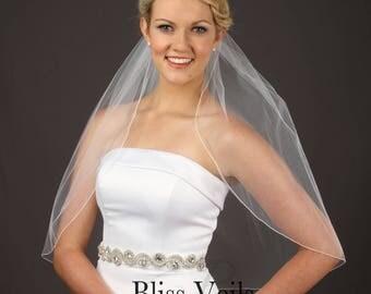 Simple Bridal Veil, 1 Tier Wedding Veil, Chapel Veil, Soft Veil, Simple Veil - Available in 10 Sizes & 11 Colors - Fast Shipping!