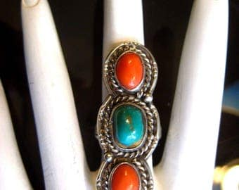 Vintage Sterling Silver Southwest Ring Turquoise and Coral Size 7 10.6g