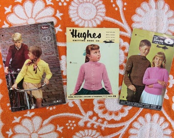 Vintage 1960s  knitting pattern booklets for children x 3 - tots to teens but most for older - classic styles