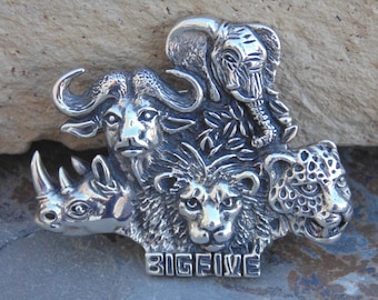 D'Molina ~ Mexican Sterling Silver Detailed African Big Five Safari Animal Pin / Brooch