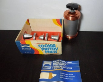 Vintage Retro Mirro Aluminum and Copper Cooky/Cookie and Pastry Press Set in Original Box