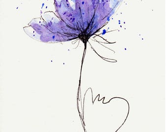 Poppy Flower Water Color Hand Painted  Original Watercolor Art Painting Pen and Ink Blue Purple Poppy Flower
