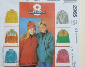 McCall's Childrens Pattern Size 12-16  #2965