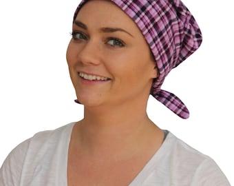 Krystal Women's Flannel Head Scarf, Cancer Hat, Chemo Headwear, Alopecia Hat, Head Wrap, Head Cover, Hair Loss, Cancer Gift - Purple Plaid