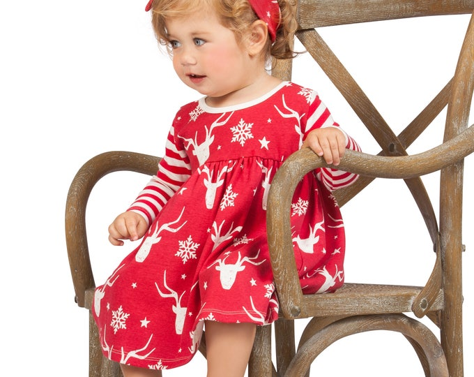 Baby Girl Christmas Dress,  Baby Girl Christmas Reindeer Outfit, Long Sleeve Baby Girl Dress Red & Ivory, Tesa Babe, Tesababe DR760FZIR0000