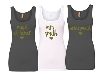 Bridesmaid Tank Tops, Bridesmaid Gift, Wedding Tank Tops, Bachelorette Party Shirts,Bridesmaid Shirts