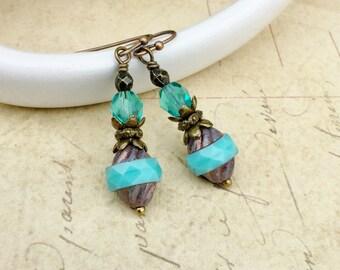 Aqua Earrings, Blue Earrings, Green Earrings, Purple Earrings, Teal Earrings, Czech Glass Beads, Victorian Earrings, Aqua Gold Earrings