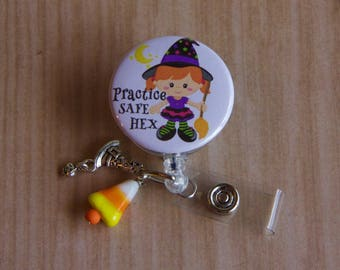 Witch Halloween  Badge Reel with Witch Hat and Candy Corn Charms  - Halloween Badge Reel- Badge Reel- Badge Pull - Mylar Badge Holder