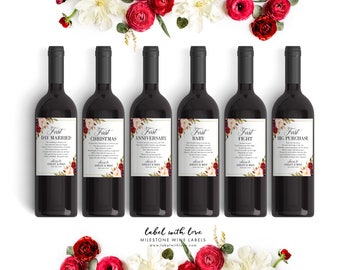 Fall Wedding Milestone Wine Labels, Winter Wedding Gift Wine Labels - Bridal Shower Wine Basket, Engagement Gift Marriage Firsts, Wine Poems