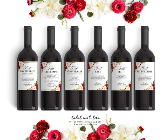 Wine Gifts For Wedding: Fall Wedding Milestone Wine Labels Winter Wedding Gift Wine