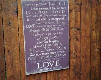 "Custom Carved Wooden Sign - ""Love is Patient, Love is Kind ... 1 CORINTHIANS"""