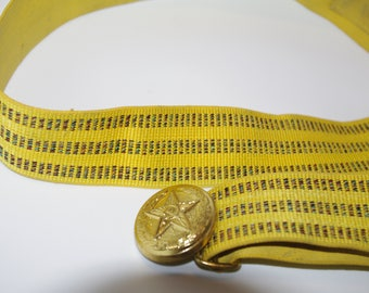Vintage Soviet Era MILITARY belt Officer UNIFORM Soviet Russian USSR Belt Brass Buckl Canvas Belt with Metal Buckle 80s Army yellow belt
