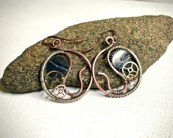 Wire Wrapped Steampunk Earrings