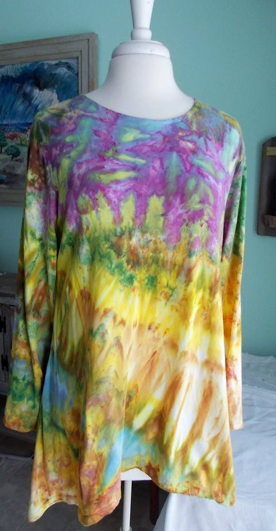 Hanky-hem Ice dyed Women's  Long Sleeve Cotton Shirt