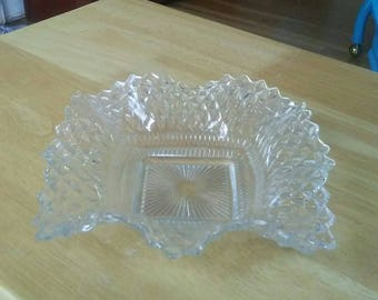 Clear Glass Candy Dish, Vintage Candy Dish, Glass Ring Dish, Mid Century Candy Dish, Glass Trinket Dish, Square Candy Dish, Change Dish