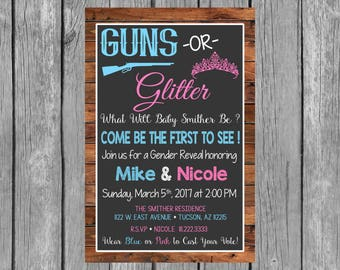 GUNS OR GLITTER Gender Reveal Party Invitation - Gender Reveal Invitation
