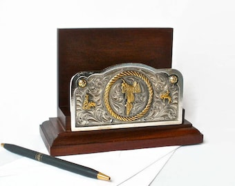 Cowboy Western Office Desk Letter Envelope Holder Caddy Accessory Wood  Organizer Metal Engraved Decor Lifestyle RA