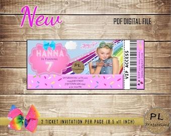 JOJO SIWA Inspired Birthday, Jojo Siwa Party Ticket Invitation, Personalized, Jojo Siwa Birthday, Jojo Siwa Party, Jojo Siwa Invite, Jojo