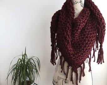 READY TO SHIP Burgundy Triangle fringed scarf shawl, burgundy triangle scarf, oxblood, triangle scarf, fringe, fringe scarf, triangle fringe