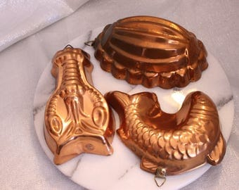 Vintage Set of Three Copper Molds Lobster, fish and Oval Design Jello Mold