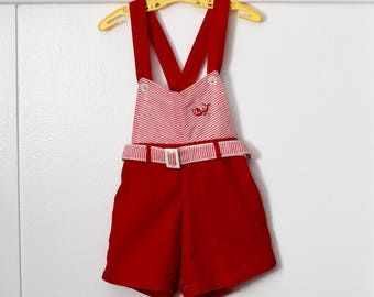 2T: 1950s Red Baby Sunsuit Romper with Striped Top, Lobster Appliqué, and Belt