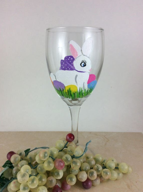Easter wine glasses easter gift easter decor bunny wine like this item negle Image collections