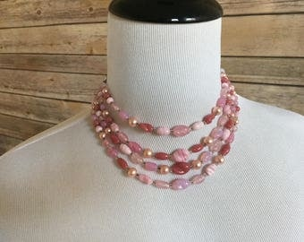 Pink Beaded Multi Strand Necklace - Silver Toned Metal - Japanese Beads - Various Shades of Pink and Mauve - Pearlescent Beads