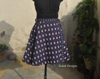 Cotton Wrap around Skirt Beach cover up Hippie skirt Short skirt Beach skirt