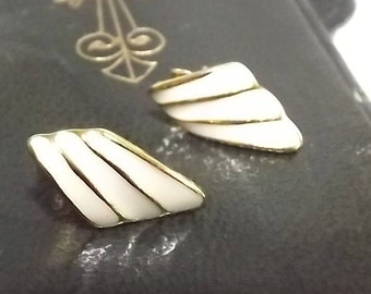 Cream Enamel Earrings Pierced Drop