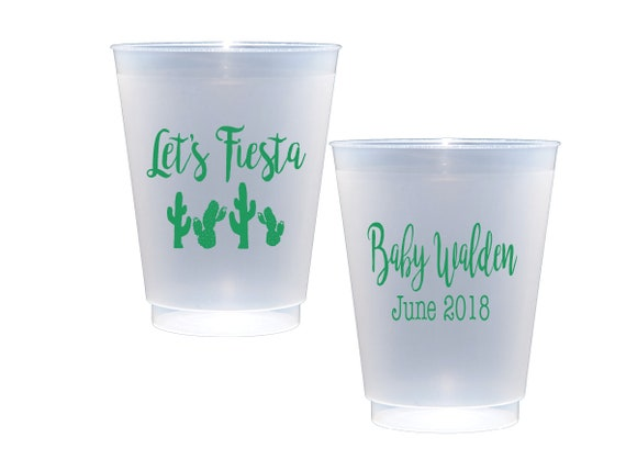 fiesta cups, fiesta baby shower cups, personalized shatterproof cups, personalized plastic cups, baby shower cups, custom frosted cups
