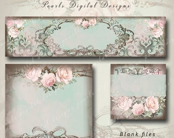 3 PC, Cover banner, Shop Icon, Placeholder, BLANK, Charming Elegance, pale pink roses, muted shades of aqua and pink, vintage theme