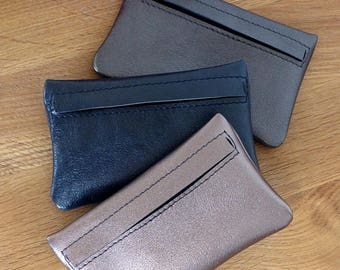 Leather wallet / / gray metallic