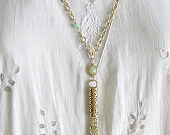 Long Tassel Necklace, Gold Tassel Necklace, Tassel Necklace, Gold Chain Tassel Necklace, Tassel Necklace w Crystal Beads, Boho-Modern Tassel
