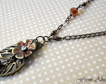 Leaf Pendant Necklace, Skeleton Leaf Pendants, Leaf & Flower Necklace, Woodland Necklace, Nature, Brass Leaf Necklace, Leaf Pendant, Leaves
