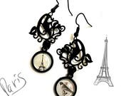 I love Paris, Eiffel Tower Print, Romantic earrings, France, Art Nouveau, Floral Decor, Bird on a Branch, Valentine's Gift, Vintage Retro