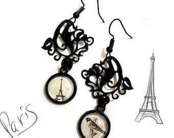 I love Paris, Eiffel Tower Print, Romantic earrings, France, Art Nouveau, Floral Decor, Bird on a Branch, Valentine's Gift, Vintage Retro