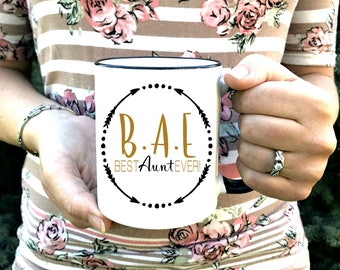 BAE Best Aunt Ever Mug - Aunt Gift - Auntie Mug - Gift for New Auntie - Printed Ceramic Mug Dishwasher Safe - Mother's Day Best auntie ever