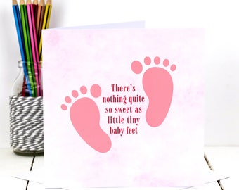 New Baby Girl Card; 'Little Tiny Baby Feet'; Baby Girl Shower Card; It's A Girl Card; Baby Girl Pink Greeting Card; New Parent Card; GC422