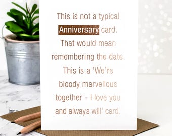 Anniversary Card; Gold Foil Anniversary Card; Rose Gold Foil; I Love You Card; Anniversary Card For Wife; GC375