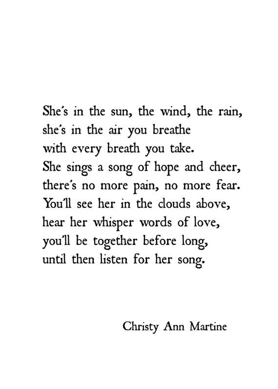 Sympathy Gift - Prints - Loss of Mother Daughter or Sister - She's In the Sun the Wind the Rain Poem Print