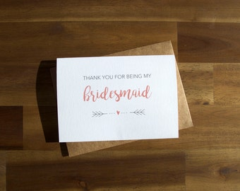 Thank you for be my bridesmaid Printable, bridesmaid card