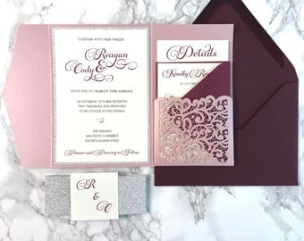 Laser Cut Pocket Wedding Invitation, Misty Rose and Silver Glitter