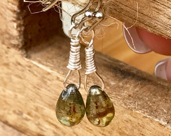 Glass bead earrings, green, dainty earrings, glass earrings, drop earrings, wire wrapped bead jewelry, dangle bead earrings